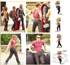 """Jeremy Renner """"Hawkeye Posing"""" by flatbear.tumblr.com"""
