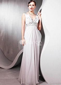 Fabulous Silver V-Neck Sequin Polyester Womens Prom Dress. See More V-Neck at http://www.ourgreatshop.com/V-Neck-C936.aspx