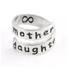 """COMING SOON!Silver Ring """"Mother & Daughter"""" Fashion Engraved Silver Adjustable Ring! Engraved with Infinity Symbol inside ring also! -Size- Adjustable -Price FIRM unless Bundled! -Bundle 2 or more items for 20% Discount! ( 2 Rings Listed- Buy both & save! 1 for you & 1 for mom/daughter!❤️) -❌Trades ❌PP Jewelry Rings"""