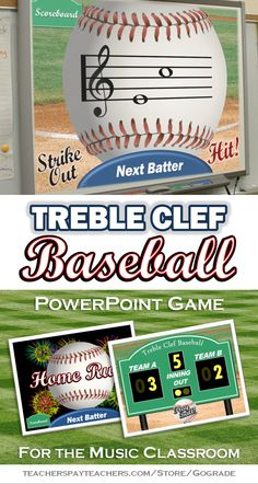 Treble Clef Baseball PowerPoint Game for Music Class Piano Lessons, Music Lessons, My Music Teacher, Music Teachers, Music Activities, Music Games, Music Mix, Reading Activities, Middle School Music