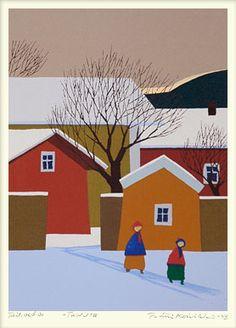 By Pentti Koivikko Winter Scenes, Sorting, Painters, Finland, Winter Wonderland, Murals, Statues, Street Art, Graphics