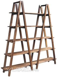 DIY Ladder Shelves - awesome iteration on the single ladder shelf! Old Ladder, Folding Ladder, Christmas Village Display, Bookshelves, Ladder Shelves, Shelving, Ladder Display, Wooden Ladder Shelf, Wooden Ladders