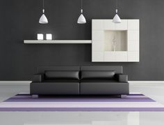Slate Gray Walls - Slate gray walls are the perfect base for a minimalistic living room.