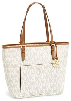MICHAEL Michael Kors 'Large Jet Set' Signature Snap Pocket Tote
