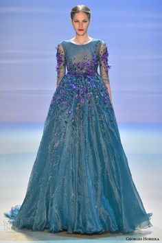 georges hobeika fall 2014 2015 couture ball gown turquoise purple flowers