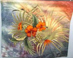 Brilliant Orange Hawaiin Flowers by textilewonder for $56.00