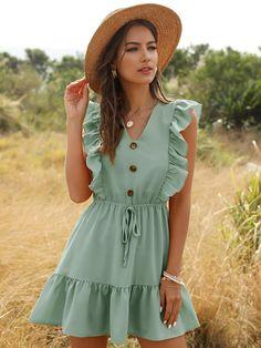 Sexy Summer Dresses, Stylish Dresses, Elegant Dresses, Casual Dresses For Women, Short Dresses, Dress Casual, Bright Dress, Pink Dress, Ruffle Sleeve Dress