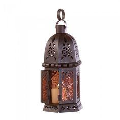 Gallery of Light 33145 Amber Glass Moroccan Lantern