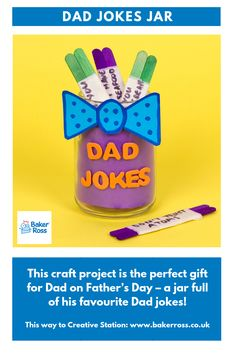 This craft project is the perfect gift for Dad on Father's Day – a jar full of his favourite Dad jokes! Fathers Day Jokes, Fathers Day Crafts, Dad Jokes, Diy Father's Day Gifts Easy, Father's Day Diy, Perfect Gift For Dad, Gifts For Dad, Craft Kits, Craft Projects