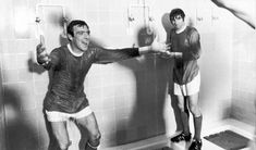 David Sadler celebrates United's European Cup semi-final draw against Real Madrid with George Best in the showers at the Bernabeu. Manchester United Images, Manchester United Players, Munich Air Disaster, Norman Whiteside, Oxford United, Bobby Charlton, Sir Alex Ferguson, European Cup