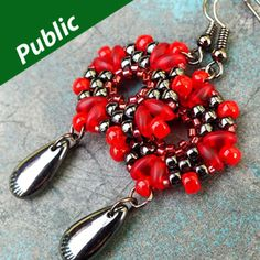 ROSETTA EARRINGS Using Superduos and Matubo Beads