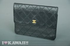 Auth CHANEL Black Leather Diamond Stitches Bi-fold Coin Purse Wallet Free Ship! #CHANEL #BifoldLongCoinPurseWallet
