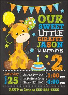 Giraffe Birthday Invitation, Giraffe Invitation, Safari Birthday Invitation, Jungle Animals Birthday, Zoo Birthday Party, Giraffe Invite by HappyPandaPrint.etsy.com
