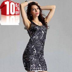 Grey sparkling sequin dress