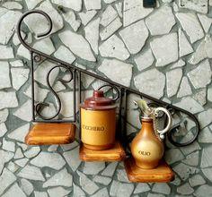 porta vaso piante fiori fioriera mensola in ferro battuto legno, Hause ideen