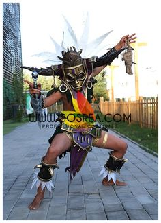 Costume Detail Diablo 3 Witch Doctor Cosplay Armor Includes - Helmet, Top, Wrist Guard Set, Waist Armor, Ankle Guard Material - EVA, PVC, Cotton Blend, PU Leather This armor set is custom made to orde