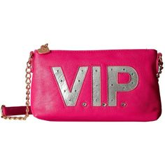 Betsey Johnson Kitch Light Up Crossbody Vip (Fuchsia) Cross Body... ($78) ❤ liked on Polyvore featuring bags, handbags, shoulder bags, crossbody shoulder bags, chain strap purse, man bag, pink shoulder handbags and chain strap shoulder bag
