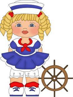 Dibujos. Clipart. Digi stamps - Nautical Girls