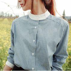 Купить товарНовый Корейский Стиль Моды С Длинным Рукавом в Полоску Блузка…