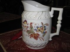 Vintage Water Pitcher Germany Ivory with by MiMisFavoriteThings