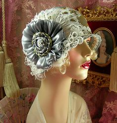 1920's Vintage Style Gray Gold Off White Floral Feather Cloche Flapper Hat | eBay