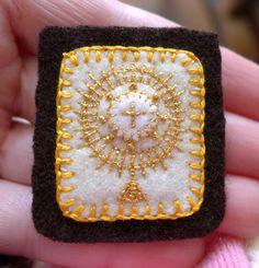 Embroidered Brown Scapular Simple Golden by StellaMarigoldArt