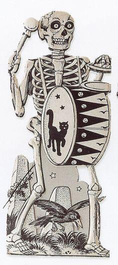 Antique Halloween Card / Vintage halloween Skeleton & Cat Drum