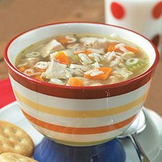 Growing up, alphabet soup was always the one food we wouldn't get in trouble for playing with. Continue the tradition of soup spelling with this homemade alphabet soup! Healthy Chicken Soup, Vegetarian Chicken, Chicken Noodle Soup, Chicken Soup Recipes, Recipe Chicken, Healthy Soup, Eating Healthy, Healthy Snacks, Clean Eating