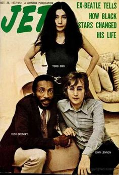 John Lennon and Yoko Ono with Dick Gregory on the cover of Jet magazine, October 1972.