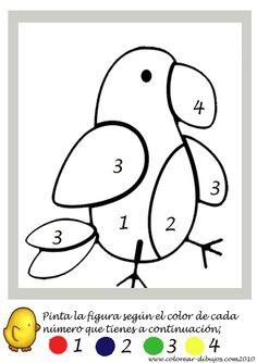 colorear por numeros un loro Pre K Worksheets, Kindergarten Math Worksheets, Preschool Learning Activities, Preschool Curriculum, Preschool Printables, Toddler Activities, Preschool Activities, Kids Learning, Color By Numbers