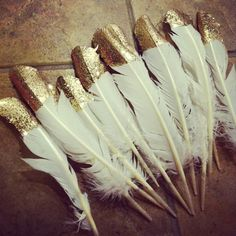 Dipped Feathers - bunch together in vase for a centerpiece on coffee table