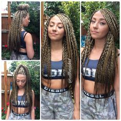 Box braids on Caucasian hair.
