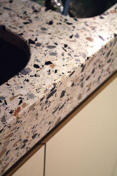 Grigio Venato Terrazzo Top by Bomarbre. #countertops  Learn more about terrazzo at www.doyledickersonterrazzo.com