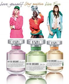 """#Benetton пуска новата колекция от аромати """"United Dreams"""" през юли 2014 г. Колекцията се състои от три женски аромати, които носят положително послание, за да повярвате в мечтите си: останете позитивни, обичайте себе си и живейте свободно.  Live Free е енергичен и освежаващ аромат, който започва със зелена ябълка, юзу, бергамот и чаени листа. Джинджифил, портокалов цвят, кардамом и циклама формират сърцето на композицията, а основата е топла с нотки на кехлибар, мускус и кедър."""