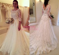 Elegant Lace Princess Style Wedding Dresses Backless Bridal Gowns For 2015 Beach Boho Brides Sale Cheap 3/4 Long Sleeves Plus Size Vestidos Online with $136.05/Piece on Sarahbridal's Store   DHgate.com