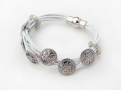 White Leather Bracelet with Round Shape Flower Metal Accessories