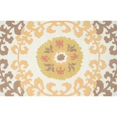 Features:  -Origin: China.  Technique: -Hooked.  Material: -Acrylic/Synthetic.  Rug Shape: -Rectangle.  Product Type: -Area Rug.  Primary Color: -Brown/Yellow. Dimensions:  -Pile Height: 0.75.  Pile H