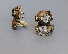 Diving Helmet Cufflinks Men's Cufflinks Diver by SkeltonsTreasures