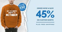 This week only! Order now and get 45% off custom shirts, plus $10 tees and free shipping. Design your own white, one color, single-sided budget tee to receive the $10 deal. Shop now - #sale ends 10/19!
