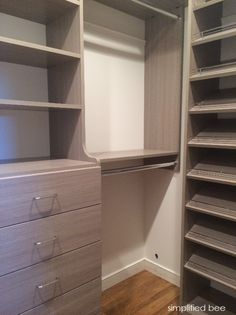 small walk-in closet design // simplified bee, easy closets - online source of modular storage