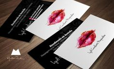 Stylish makeup business card template with colorful modern vector lips, designed by Marlon Parente.