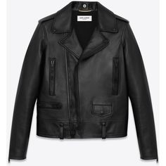 Saint Laurent Classic Motorcycle Jacket (93,430 MXN) ❤ liked on Polyvore featuring outerwear, jackets, coats, coats & jackets, leather jacket, leather moto jackets, genuine leather jackets, yves saint laurent, leather motorcycle jacket and moto jackets