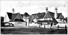Proposed School and Headmaster& House, Isle of Man, designed by Mackay Hugh Baillie Scott and Seton Morris 1930s House, Arts And Crafts House, Men Design, Isle Of Man, William Morris, Little Houses, Victorian, English, Architecture