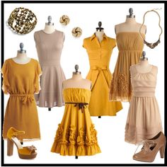 ModStylist Inspiration: Mustard and Nude Bridesmaids Dresses!, created by modcloth on Polyvore