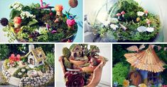 Find out how to make a DIY miniature fairy garden and get ideas for this enchanting and fascinating garden trend, suitable for both kids and adults. Diy Home Projects Easy, Fairy Jars, Mini Fairy Garden, Little Gardens, Garden Terrarium, Mosaic Diy, Beautiful Fairies, Miniature Fairy Gardens, Flower Pots