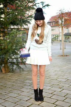 winter sweater - white skater skirt
