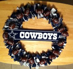 Dallas Cowboys football wreath by MandiesCelebrations on Etsy, $40.00