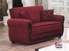 Empire PARK AVE Loveseat  - Red two-seater sofa. Construction of solid wood, fabric upholstered.Dimensions:67L X 35D X 35H.