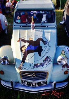 Comic Movies, Comic Books, Captain Haddock, 2cv6, French Movies, You Funny, Amazing Cars, Retro, Peugeot