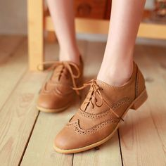 Womens Retro Vintage Lace Up Brogue Chelsea Casual Oxfords Shoes #new #Oxfords | Apricot color is best